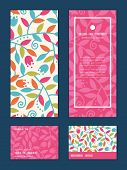 Vector colorful branches vertical frame pattern invitation greeting, RSVP and thank you cards set