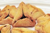 picture of purim  - A hamantash is a pastry in Ashkenazi Jewish cuisine traditionally eaten during the Jewish holiday of Purim - JPG