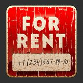 Vintage sign with the inscription For Rent