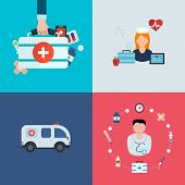 Flat design modern vector illustration concept for health care, medical help, ambulance car and medi