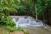 Waterfall In Deep Rain Forest Jungle (huay Mae Kamin Waterfall In Kanchanaburi Province, Thailand)