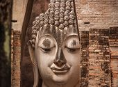 stock photo of chums  - Wat Si Chum in Sukhothai Historical Park is a historic site - JPG
