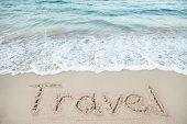 Word Honeymoon Written On Beach