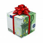stock photo of money prize  - Euro Money Gift Box isolated on white background - JPG