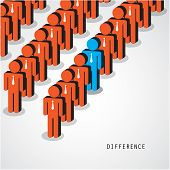 Businessman Standing Out From The Crowd. Business Idea And Difference Concept.