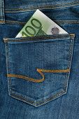 One Hundred Euro In The Jeans Pocket