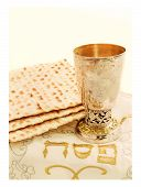 picture of hebrew  - the symbols of the feast of the Passover matzah the Cup with wine white cloth with embroidery and font on the Hebrew Pesach on a white background isolated - JPG