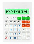 Calculator With Restricted