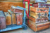 Old suitcases on a station