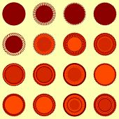 Round seal shapes in orange-brown colors
