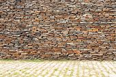 picture of old stone fence  - tiling stone wall - JPG