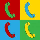 Pop Art Phone Simbol Icons.
