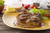 Grilled Steak Flavoured With  Pepper And Gravy