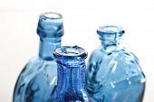 Blue Bottles In Close Up