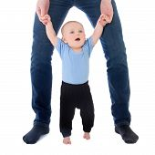 Little Baby Boy Walking With Father Isolated On White