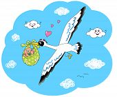 picture of stork  - Digital illustration of stork flying in the sky with newborn baby - JPG