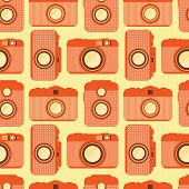 Seamless Pattern With Old Cameras.