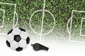 Football Pitch, The Ball And The Referee's Whistle