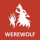 Vector werewolf stencil. Red color.