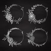 Set Of Floral Wreaths On The Chalkboard