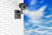 Video Camera Security System Over Brick Wall