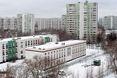 School Buildings And Residential Buildings In District Bibirevo. Moscow.