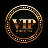 Gold And Black Vip Label Shiny Glamorous Vector Illustration