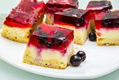 pieces of fresh cheesecake with berries