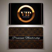 Gold Vip Cards, Premium Membership, Vector Illustration
