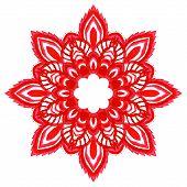 Watercolor Hand Drawn Red Mandala.
