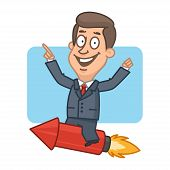 Businessman flying on rocket and smiling