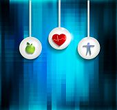 pic of cardiovascular  - Exercise healthy diet and Cardiovascular Health symbols on abright blue abstract background - JPG