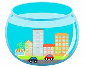 City with road and cars under water in an aquarium. Vector illustration