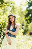 beautiful girl at nature, summer portrait