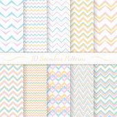 stock photo of chevron  - Set of ten modern seamless chevron patterns - JPG