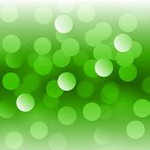 Abstract Green Vector Background With Realistic Bokeh Lights. Saint Patricks Day Colors