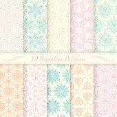 Set Of Ten Seamless Retro Patterns.