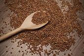 Buckwheat Groats On Wooden Spoon