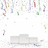 Celebration background template with pedestal, confetti and colorful ribbons.