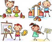 Kids in different creative activities