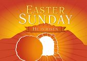 stock photo of risen  - Template invitation to an Easter Sunday service in the form of rolled away from the tomb stone - JPG