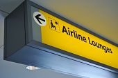 stock photo of first class  - Sign for airline lounge at an airport - JPG