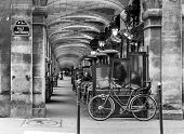 Urban Street View In Paris. Bistro Cafe Parisian With Black And White Effect