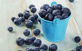 Blueberries In  Small Bucket On  Wooden Table