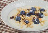 Healthy Breakfast - Yogurt With Blueberries And Muesli Served In  White Bowl