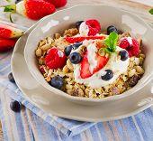 Breakfast With Fresh Berries, Yogurt And  Muesli.