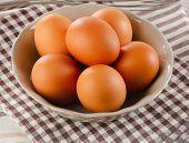 Fresh Raw   Brown Eggs In  Bowl