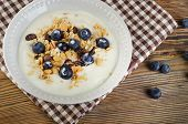 Healthy Breakfast - Yogurt With Blueberries And Muesli Served In  Bowl