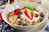 Healthy Breakfast With  Berries, Yogurt , Muesli.