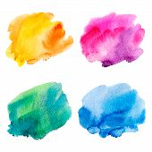 picture of four  - Set of four colorful watercolor stains - JPG